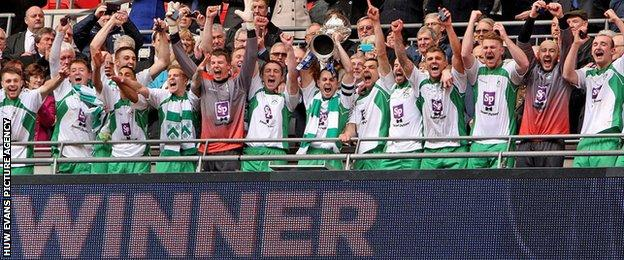 North Ferriby celebrate after lifting the FA Trophy