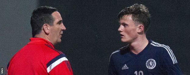 Scotland Under-19 boss Ricky Scrabia and Celtic midfielder Liam Henderson