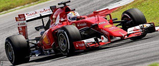 Sebastian Vettel in action during the Malaysian Grand Prix