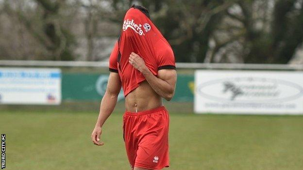 A frustrated Truro City player