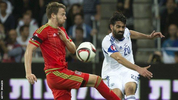 Chris Gunter (l) in action for Wales against Israel