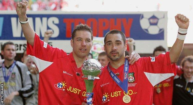 Darren Ferguson (L) and Juan Ugarte (R) celebrate Wrexham's LDV Vans Trophy final win against Southend United at the Millennium Stadium in Cardiff in 2005.