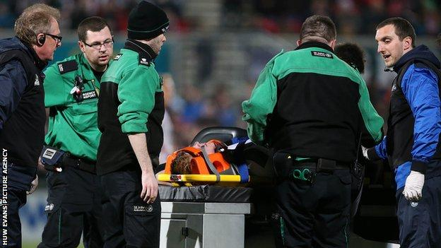 Rhys Patchell stretchered off