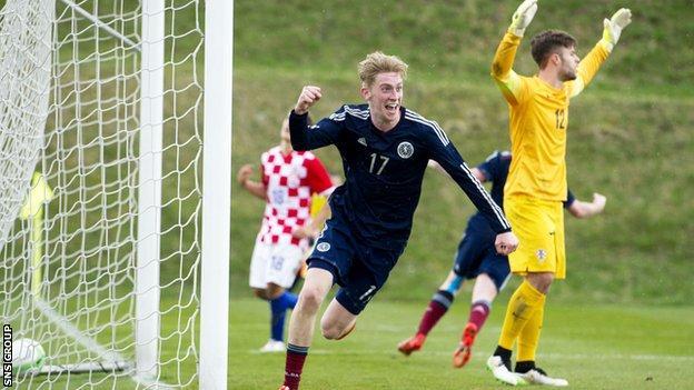 Scotland U19s' Oliver McBurnie celebrates levelling the score against Croatia