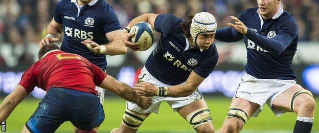Blair Cowan in action for Scotland against France