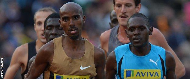 Mo Farah and Moses Ndiema Kipsiro