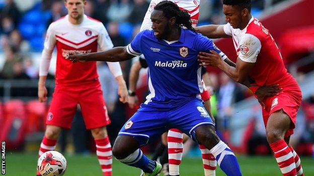 Kenwyne Jones in action for Cardiff City against Charlton Athletic