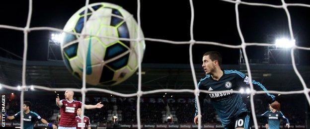 Eden Hazard scores Chelsea's winner against West Ham in March