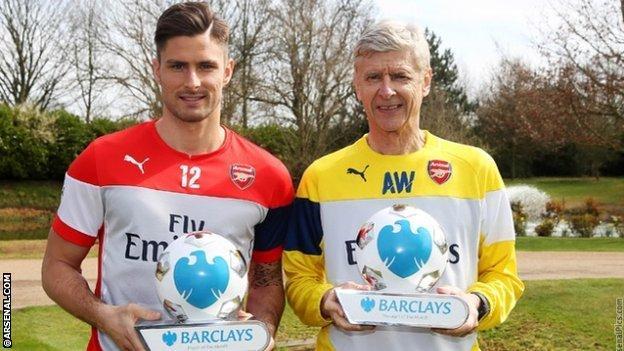 Arsenal forward Olivier Giroud and manager Arsene Wenger