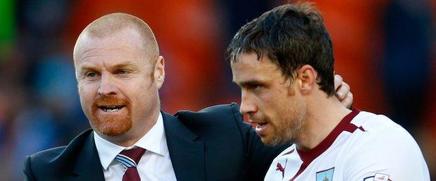 Burnley manager Sean Dyche and defender Michael Duff