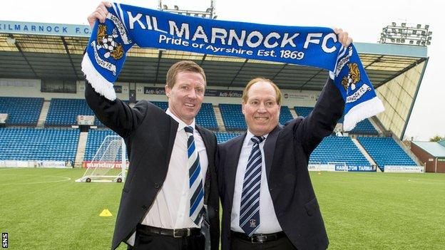 Kilmarnock manager Gary Locke and chairman Jim Mann