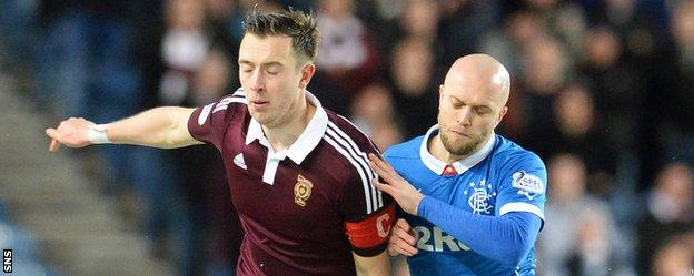 Hearts captain Danny Wilson challenges Rangers' Nicky Law