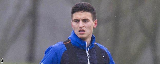 Milos Milovic trains with Rangers