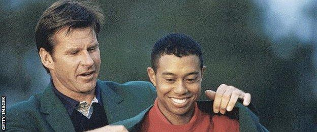 Tiger Woods (right)