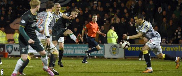 Viktor Genev handled the ball, leading to Celtic being awarded a penalty