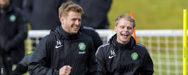 Stuart Armstrong and Gary Mackay-Steven at Celtic training