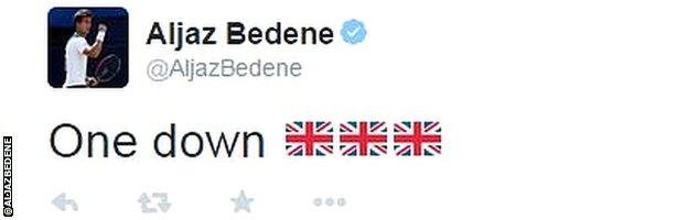 Aljaz Bedene on Twitter after his first win as a Briton