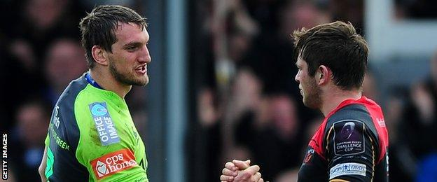 Blues' Sam Warburton shakes hands with his opposite number James Benjamin after the final whistle