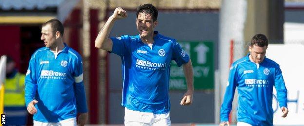 Brian Graham celebrates after equalising for St Johnstone