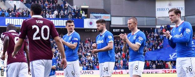Rangers players applaud Hearts on to the pitch