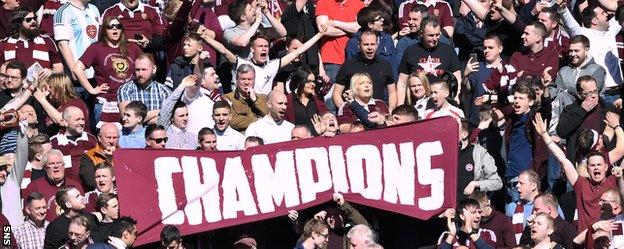 """Hearts fans sport a """"champions"""" banner at Ibrox"""