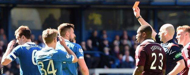 Lee McCulloch (left) is shown the red card by referee Bobby Madden