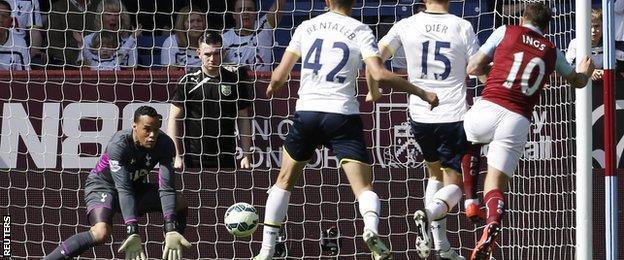 Burnley striker Danny Ings misses a chance