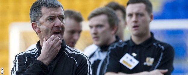 Alloa caretaker manager Paddy Connolly shows his disappointment