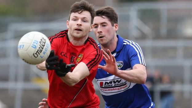 Donal O'Hare of Down in action during the 3-12 to 1-15 Division Two victory over Laois in Newry