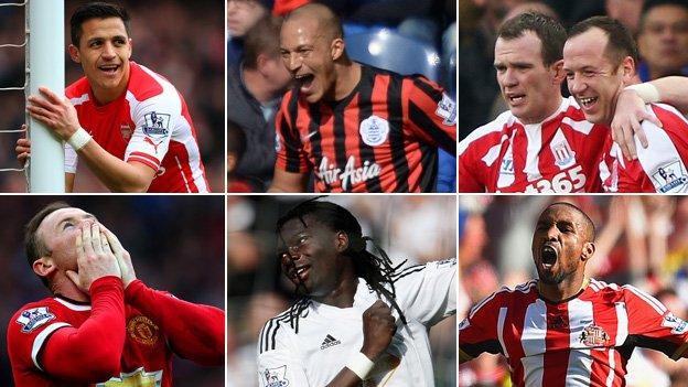 Alexis Sanchez, Bobby Zamora, Charlie Adam, Wayne Rooney, Bafetimbi Gomis and Jermain Defoe