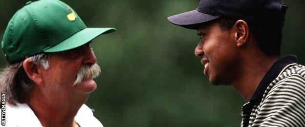 Mike Cowan and Tiger Woods