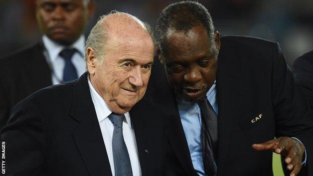 Fifa president Sepp Blatter and Caf president Issa Hayatou