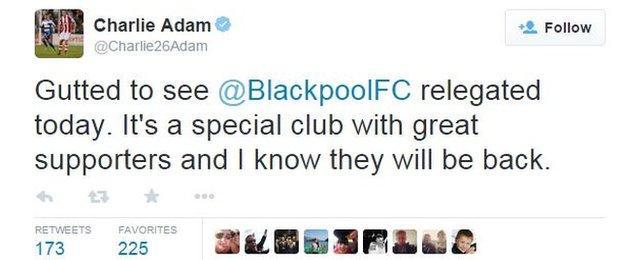 Charlie Adam tweet