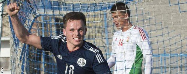 Lawrence Shankland celebrates scoring for Scotland Under-21s in Hungary