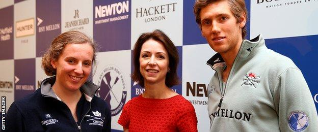 Helena Morrissey poses with Anastasia Chitty of Oxford and Henry Hoffstot of Cambridge