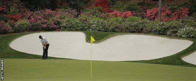 Rory McIlroy practising at Augusta