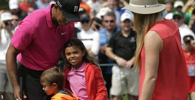Woods will play in Wednesday's Par 3 contest with his two children Sam and Charlie as caddies