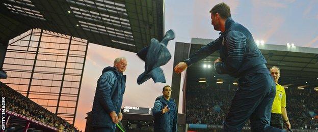 Villa boss Tim Sherwood produced an emotional celebration after Villa's first equaliser
