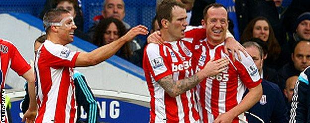 Charlie Adam (right) celebrates his goal against Chelsea