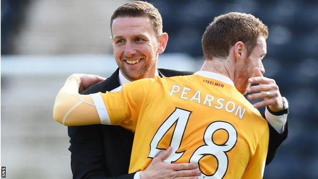 Motherwell manager Ian Baraclough congratulates Stephen Pearson