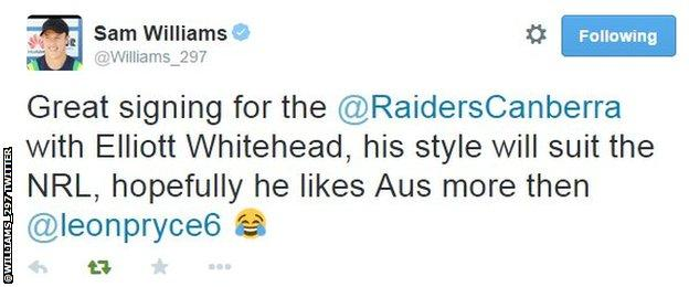 Sam Williams' tweet about the deal