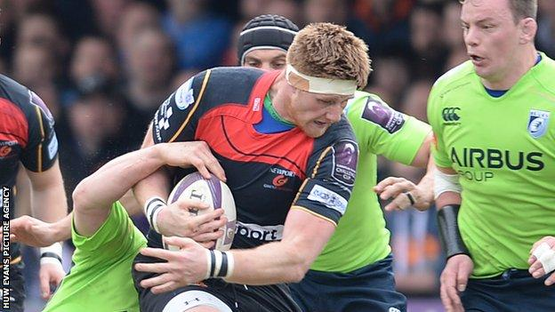Andrew Coombs was injured in Dragons' European Challenge Cup quarter-final win over Cardiff Blues