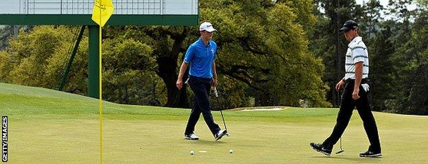 19-year-old amateur Bradley Neil (left) practised with world number one Rory McIlroy
