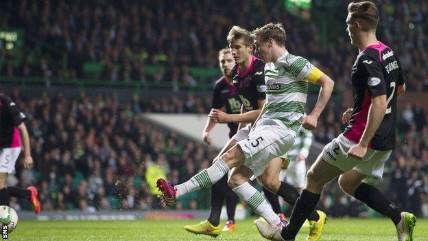 Stefan Johansen scores for Celtic against Partick Thistle