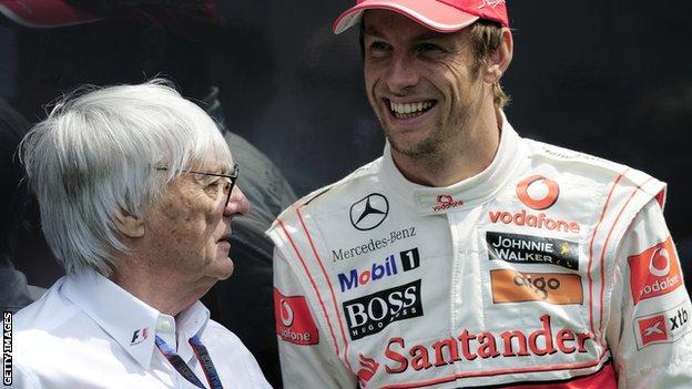 Jenson Button and Bernie Ecclestone