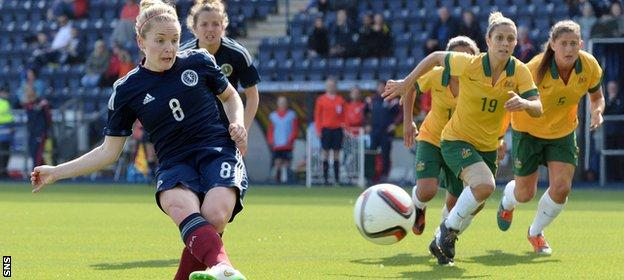 Scotland's Kim Little fires a penalty that was saved by Brianna Davey