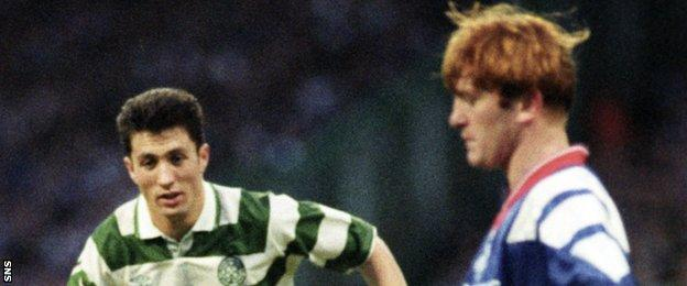 John Collins (left) faced current Rangers manager Stuart McCall in many Old Firm games