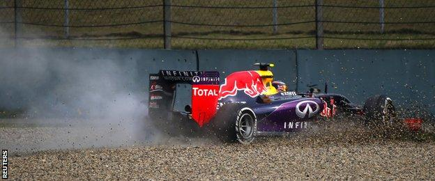 Daniil Kvyat was another casualty of second practice, taking off his front wing with a low-speed shunt