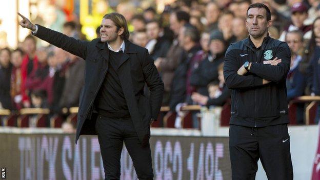 Robbie Neilson (left) goes head to head with Alan Stubbs on Sunday