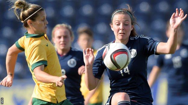 Scotland's Rachel Corsie (right) is closed down by Australia's Katrina Gorry in Thursday's 1-1 draw